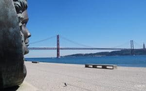 details of river Tagus in Belem and bridge 25 April in Lisbon
