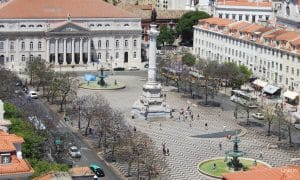 aerial shot of the rossio square in Lisbon