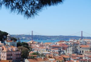 viewpoint of graca in Lisbon and bridge 25 April