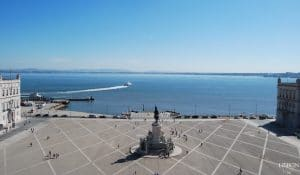 sunny day at commerce square and river Tagus in Lisbon