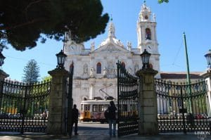 entrance of a garden and basilica of Estrela in Lisbon