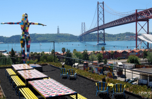 viewpoint at lx factory gazing the bridge 25 April and Cristo Rei in Lisbon