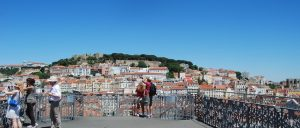 couple looking and skyline on the Santa Justa lift in Lisbon