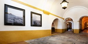 typical Portuguese house interior white and yellow walls