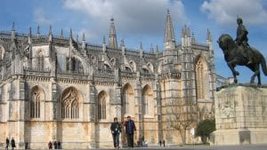 details of side facade of the Batalha monastery in Portugal