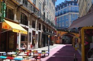 pink street at Cais do Sodre in Lisbon during daytime