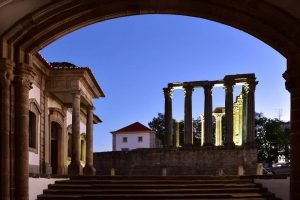 Diana temple at night in Evora Portugal