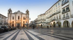 Overview of the central Giraldo square in Evora Portugal