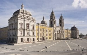 overlook of the Mafra convent and square in Portugal
