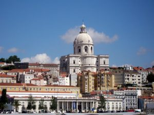 skyline of old town Lisbon and Pantheon