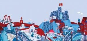 illustration blue red of Lisbon city centre