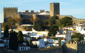 overview of the village and medieval walls of Obidos Portugal