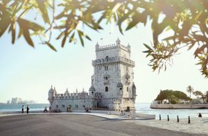 panoramic view of the Belem tower on a sunny day in Lisbon