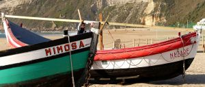 typical fishing boats on the beach at Nazaré Portugal