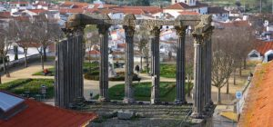 aerial shot of the temple of Diana in Evora