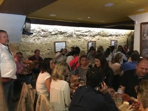 group of people on a food tour in Alfama Lisbon