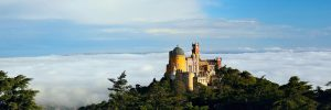 overview of the pena palace in sintra Portugal