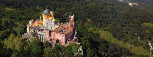 Aerial shot of Palace of Pena in Sintra Portugal