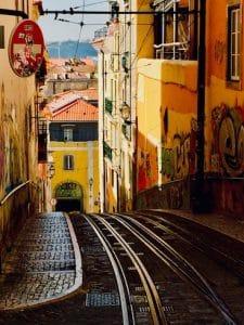 narrow street in Lisbon Elevador da Bica