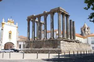 Diana temple at in Evora Portugal