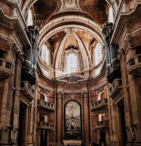 altar of the main church of convento de Mafra Portugal