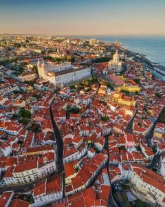 Aerial shot of the Alfama district in Lisbon Portugal